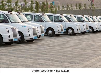 BAKU - June 18, 2015: London Cabs on June 18  in BAKU, Azerbaijan.  Baku will host first European Games in 2015