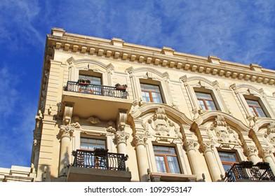 Baku, Republic of Azerbaijan: Fragment of the facade of an old building.