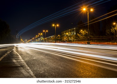 Baku road car light trails