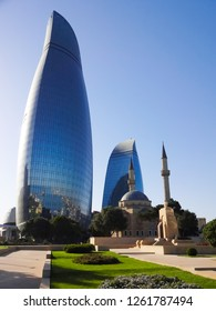 Baku, Shahid Mosque-Mosque in Azerbaijan. Views of the historic and modern architecture. Near Hotel Flame Towers, Mountain Park. Azerbaijan, Baku.18 July 2018