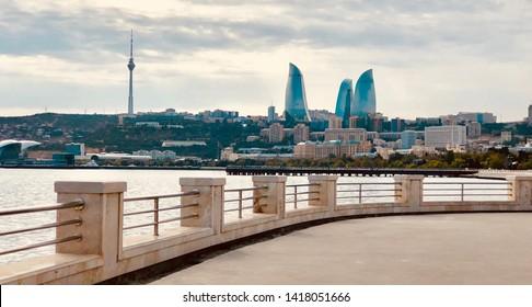Baku.Azerbaijan. 05 October 2018. Baku boulevard located on the shore of the Caspian Sea. Baku flame towers. Baku boulevard.