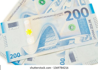 Baku/Azerbaijan - April 9 2019: 200 two hundred Azerbaijani manat