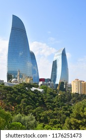 Baku,Azerbaijan.09 september 2018.Hotel Flame Towers located near Mountain Park