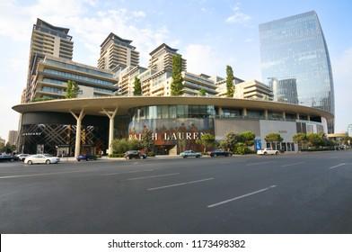 Baku.Azerbaijan.31 august 2018.Complex Baku Port and Shopping Center located on the shore of the Caspian Sea