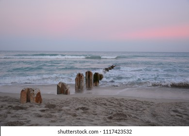 BAL HARBOUR, FL, USA - JANUARY 4, 2018: Sunset on the beach in Bal Harbour, Florida