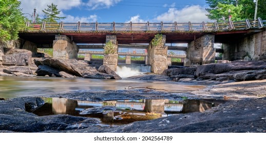 Bala Falls are located in the little tourist town of Bala Ontario Canada.  Here water from Lake Muskoka drains into the Moon River.