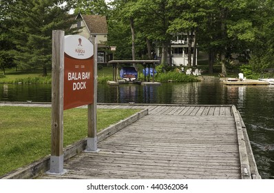 Bala, Ontario - June 18, 2016: Boat dock in Bala Bay, used by cottagers who come shopping in Bala from their cottages on the islands