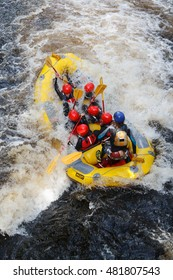Bala Wales United Kingdom - September 10 2016: White water rafting at the National White Water Centre on the River Tryweryn outside Bala North Wales