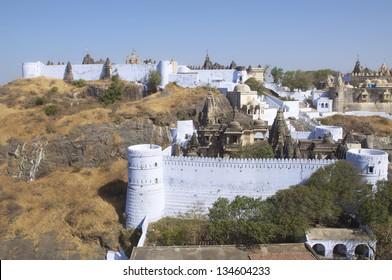 Balabhai Tonk and view to Derani Jethani Temple, Mount Shatrunjaya, Palitana, Gujarat, India - known as Shri Shatrunjaya Tirtha. Important temples and shrines of the Jain religion.