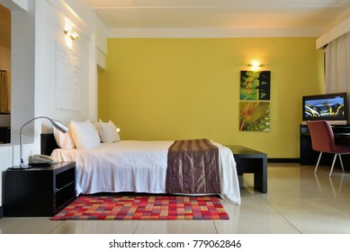Balaclava, Mauritius - Apr 27, 2013: Accommodation unit interior at Ravenala Attitude hotel. 4 star hotel offers colonial heritage, contemporary design with tropical accents on the famous Turtle Bay