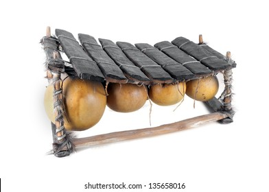 balafon, african musical instrument of wood and gourds,