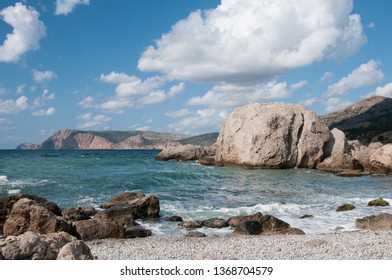 Balaklava coastline and so-called Inzhir or Fig fruit wild beach in Crimea, Russian Federation