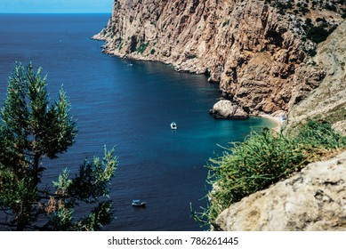 Balaklava, Sevastopol, Crimean peninsula, Russia. View of Black Sea from the cape.