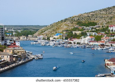 BALAKLAVA,RUSSIA-May 17,2017:View of Balaklava bay and yacht club in Crimea