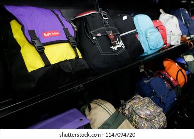 BALAKONG, SELANGOR - JULY 31, 2018. The variety used bagpacks display at the second-hand store in Balakong, Malaysia.