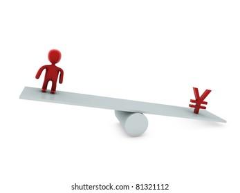 balance 3d person and yen symbol