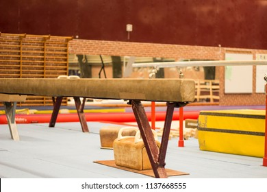 A balance beam in a gymnastic center