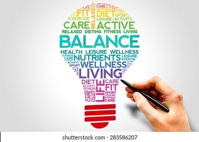 BALANCE bulb word cloud, health concept