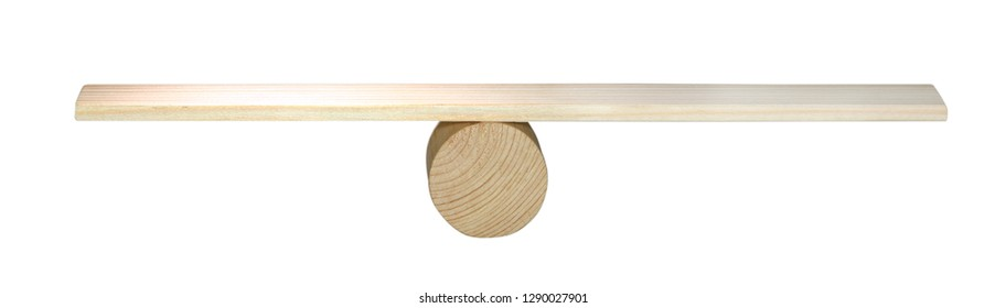 Balance concept, board on wooden top hat like balance isolated on white background, balancing on seesaw in uncertainty concept