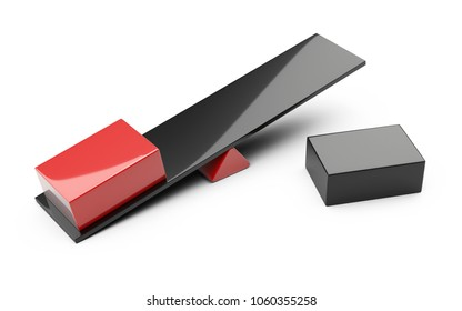 Balance concept - red box on a board. 3d illustration isolated on white.