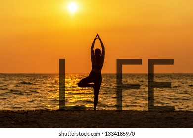 Balance meditation yoga spirit life mind woman peace vitality, silhouette outdoors on the sunset, relax vital abstract. Standing as a part of wording Healthy Life Concept