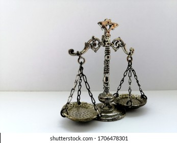 Balance scale isolated on white background. Scale of Justice