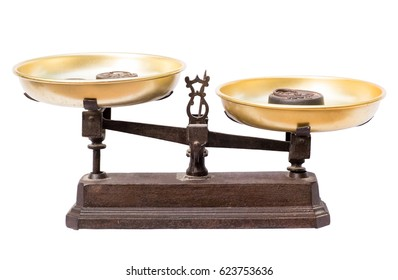 balance scale on a white background