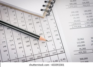 Balance sheet ,pencil, notebooks on desk of auditor to accountancy internal audit.