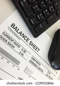 Balance sheet report with keyboard