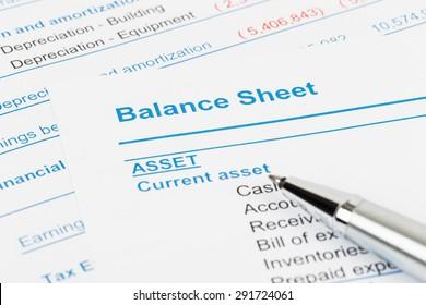 Balance sheet report; balance sheet is mock-up