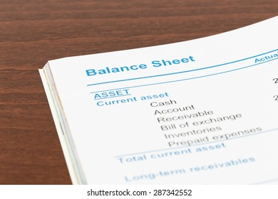 Balance sheet in stockholder report book, document is mock-up