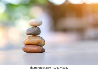 Balance stone with spa on abtract bokeh background