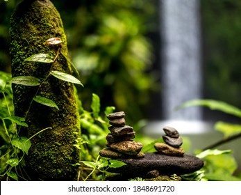 Balance stones in tropical forest. Peaceful nature. Background with blurred waterfall. Beatiful tropical landscape. Selected focus. Horizontal layout. Tibumana waterwall in Bali, Indonesia