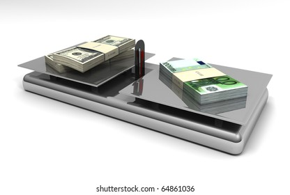 Balance with two piles of dollars and one pile of euros. Isolated object on white background.