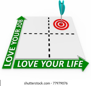 Balance your career and your personal life by measuring and prioritizing what's important with this matrix with arrow and target