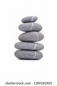 Balance zen pebble grey and white Stones isolated on white background, Spa ideas concept