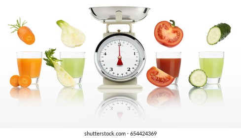 Balanced diet concept. weight scales and Vegetable juices in glass isolated on white background