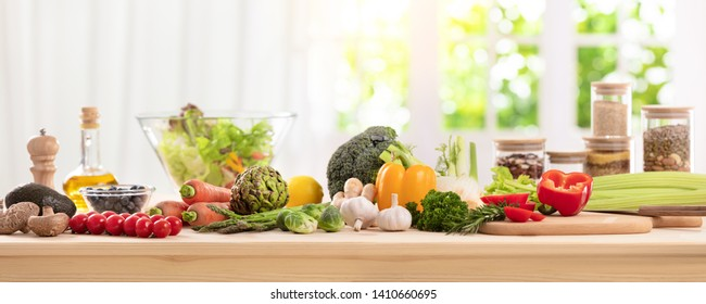 balanced diet, cooking, culinary and food concept,close up of vegetables, fruit,nut and cereal on wooden table
