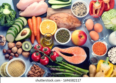 Balanced diet food background.. Nutrition, clean eating food concept. Diet plan with vitamins and minerals.  Top view