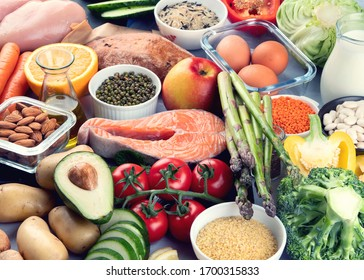 Balanced diet food background.. Nutrition, clean eating food concept. Diet plan with vitamins and minerals