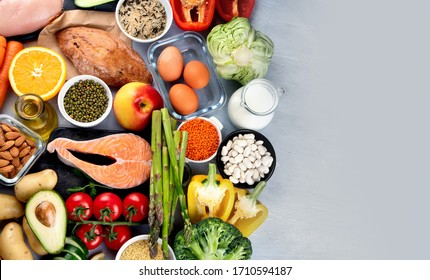 Balanced diet food background.. Nutrition, clean eating food concept. Diet plan with vitamins and minerals - Shutterstock ID 1710594187