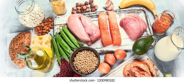 Balanced diet food background. Panorama