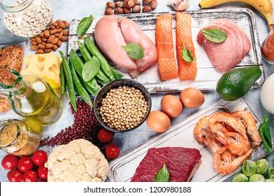 Balanced diet food background. Top view