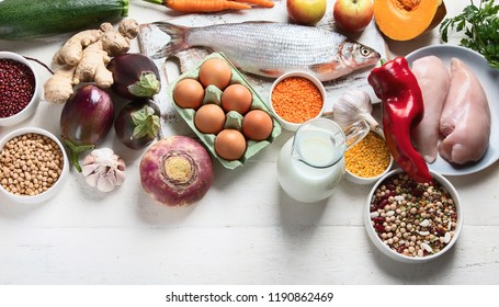 Balanced diet food concept. Ingredients for healthy cooking