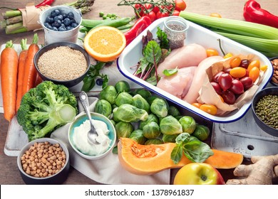 Balanced diet. Healthy eating, clean and detox  concept with fresh fruits,  vegetables, superfood and chicken meat