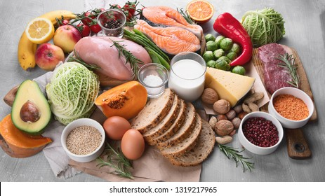 Balanced diet. Healthy food and cooking concept.