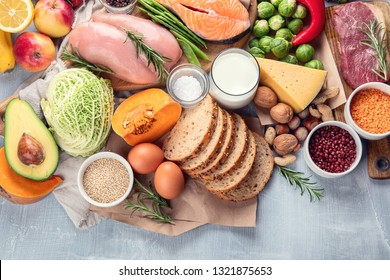 Balanced diet. Healthy food and cooking concept. Top view with copy space
