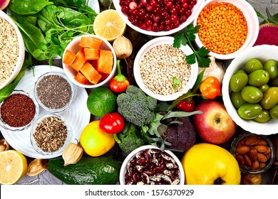 Balanced food background, organic food for healthy nutrition. Top view, flat lay, copy space.