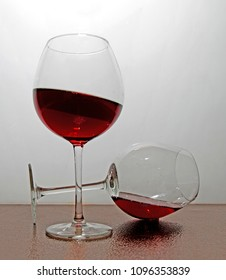 balanced glass of wine