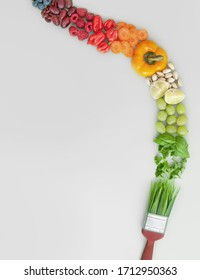 Balanced healthy diet, brush stroke concept, palette of colours, food groups, including fruits, vegetables, nuts and grains
